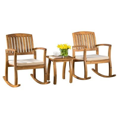 Selma 3pc Acacia Wood Rocking Chair w/ Cushion & Acacia Side Table - Teak - Christopher Knight Home