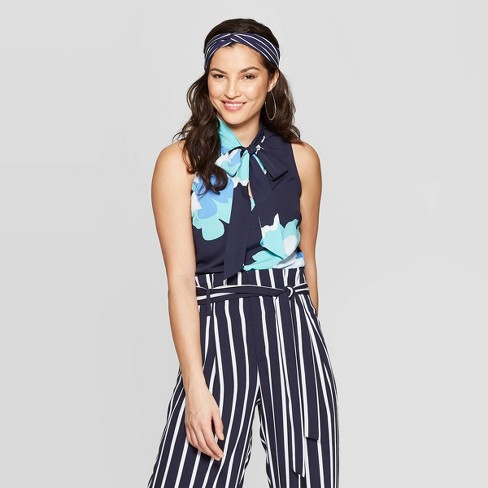 8903c8252841a Women s Floral Print Sleeveless V-Neck Tie Top - A New Day™ Blue   Target