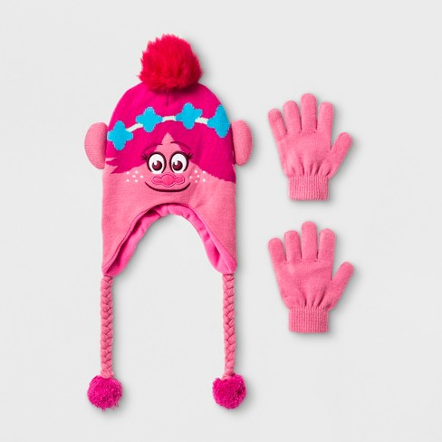 8ab76d2c9c0 Girls  Trolls Poppy Laplander With 3D Hair   Gloves Set - Pink One Size    Target