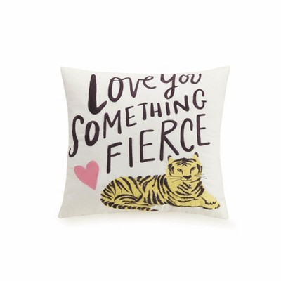 Fierce  Throw Pillow White - Hello Lucky for Makers Collective
