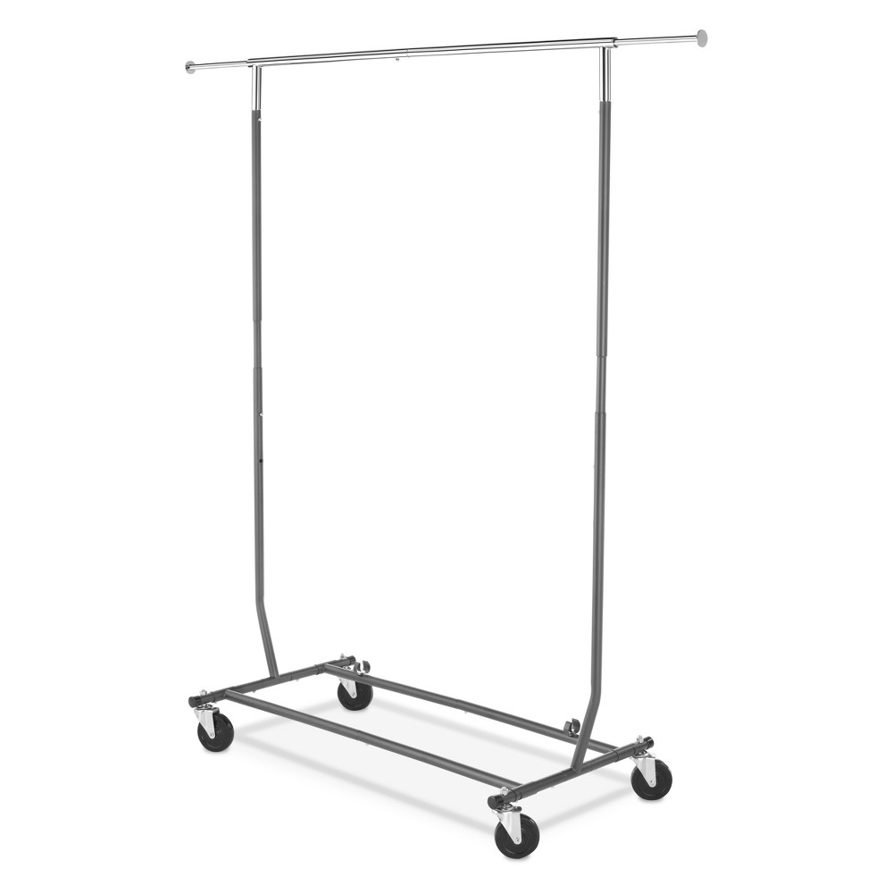 Garment Racks Chrome Gunmetal - Room Essentials, Gray Silver Organize your clothes neatly with this Chrome Gunmetal Garment Rack from Room Essentials. A perfect addition to your closet or laundry room, this slim garment rack gives you extra hanging space you need without taking up too much space. Made from sturdy steel in a gunmetal finish, this convenient clothing rack makes garment display neat and easy. Supported on a sturdy base with four wheels, it can be moved from one place to another for easy portability. Color: Gray Silver.