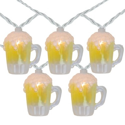 Northlight 10-Count Beer Mug Summer Outdoor Patio String Light Set, 7.25ft White Wire