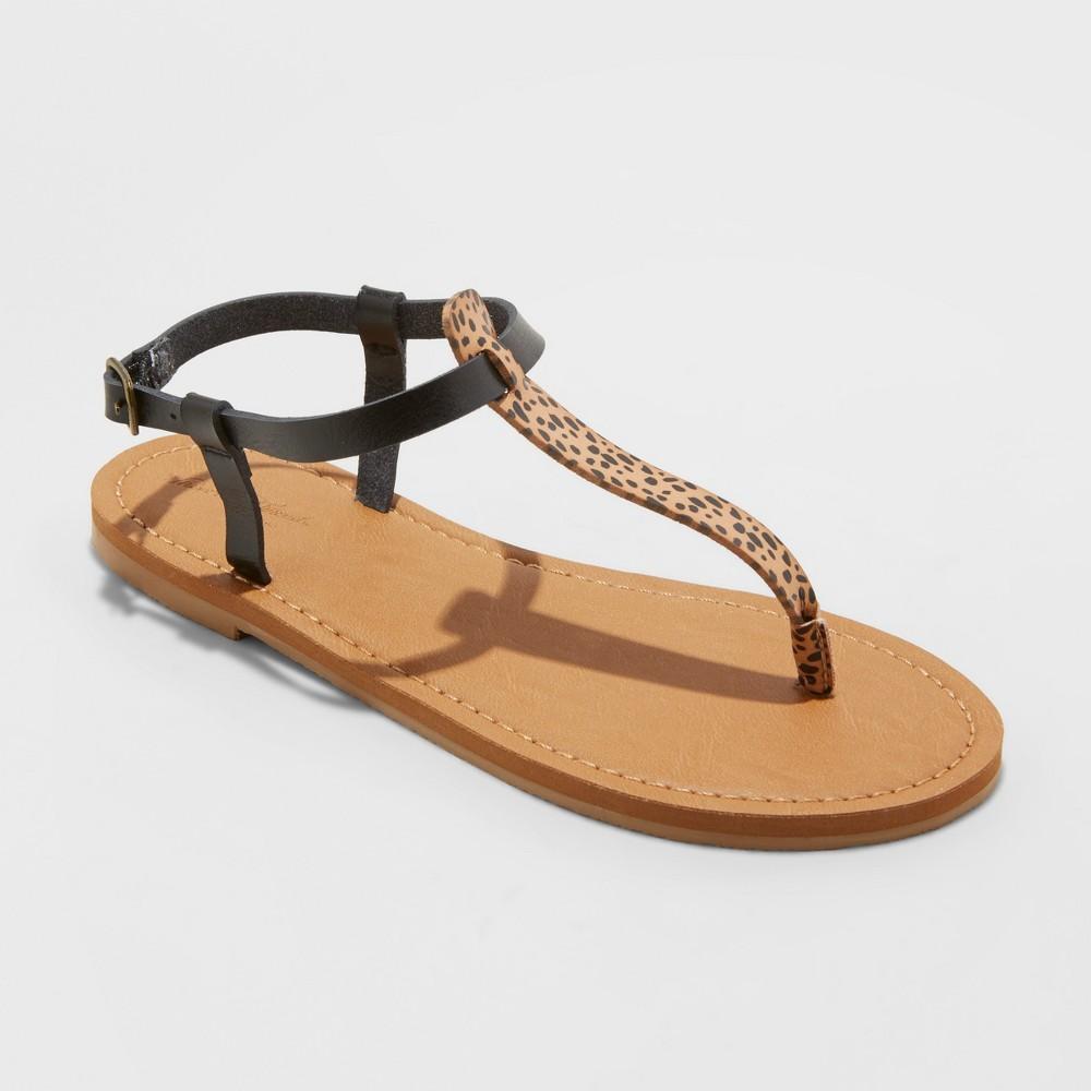 Women's Hartley T Strap Thong Sandals - Universal Thread Brown 10