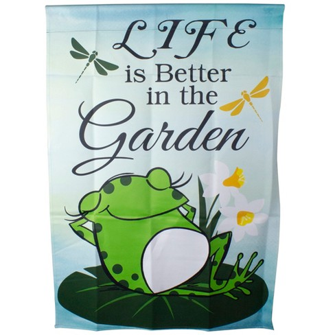 Northlight Life Is Better In The Garden Green Frog Outdoor House Flag 28 X 40 Target
