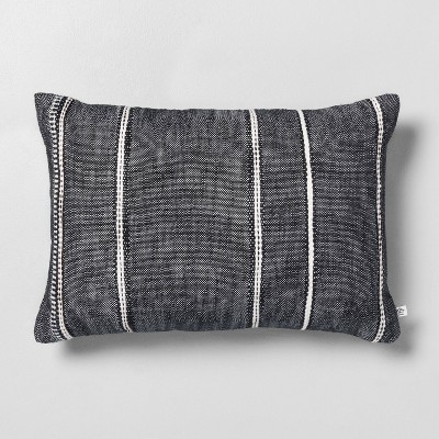 "14"" x 20"" Stripe Pattern Throw Pillow Railroad Gray - Hearth & Hand™ with Magnolia"