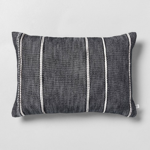"""14"""" x 20"""" Stripe Pattern Throw Pillow Railroad Gray - Hearth & Hand™ with Magnolia - image 1 of 2"""