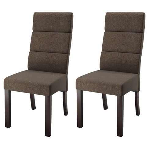 Tall Back Upholstered Dining Chair Brown Set Of 2 Corliving Target