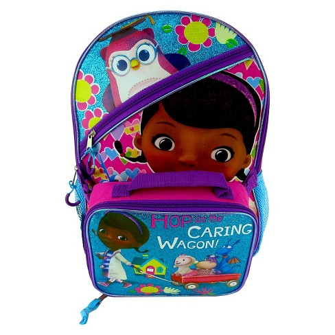 "Doc McStuffins 16"" Kids' Backpack with Lunch Bag - Blue/Pink - image 1 of 3"