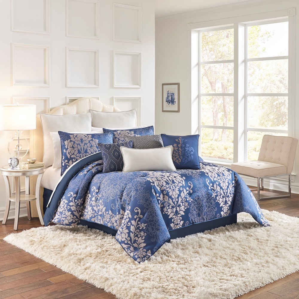 Image of Beautyrest Queen 4pc Chacenay Comforter Set Denim, Blue