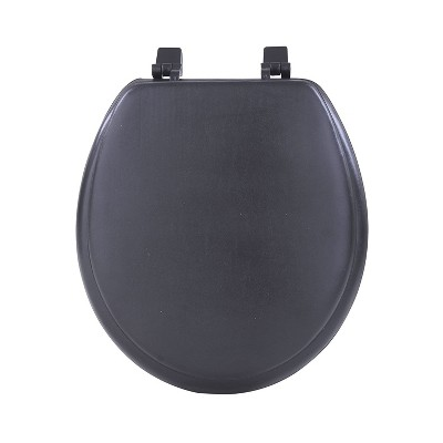 Achim Home Furnishings Fantasia Oval Shaped 17 Inch Standard Soft Foam Padded Vinyl Toilet Seat for Ultimate Comfort and Warmth, Black