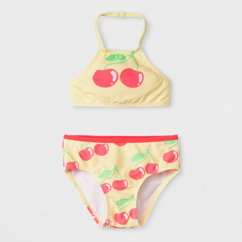 eb37cba6c35a3 Sugar Coast by Lolli Toddler Girls  Midkini Swimsuit Set with Cherry Print  and Ruffles - Yellow