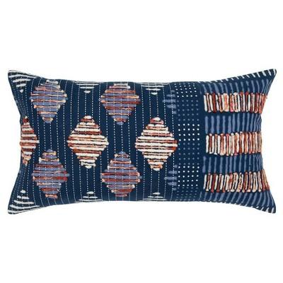 Geometric Polyester Filled Lumbar Throw Pillow Indigo - Rizzy Home