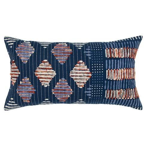 Geometric Poly Filled Lumbar Pillow Indigo - Rizzy Home - image 1 of 5
