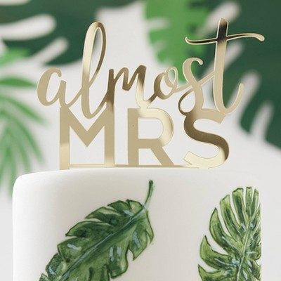 'Almost Mrs.' Acrylic Cake Topper Gold