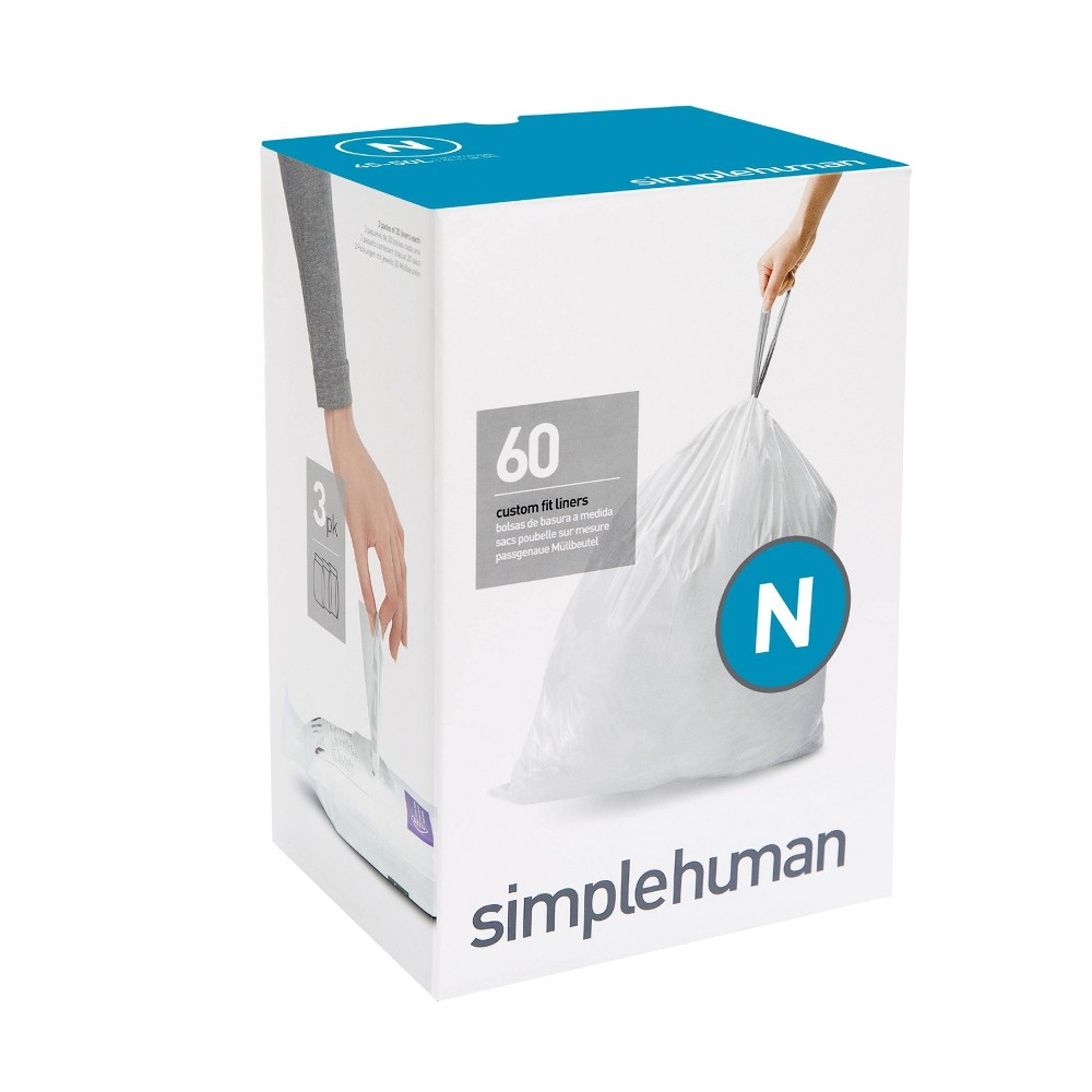 Image of simplehuman 45-50 ltr N Custom Fit 60ct Trash Can Liner