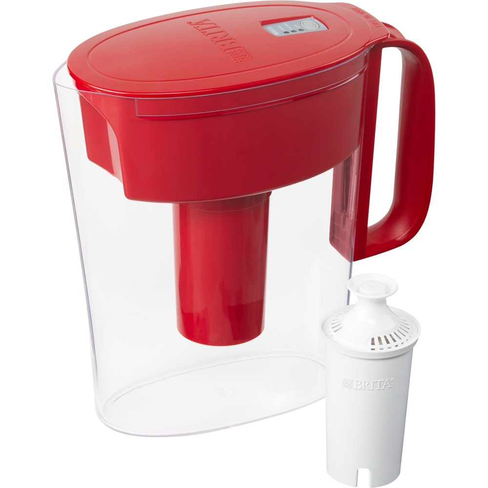 Image of Brita Small 5 Cup BPA Free Water Filter Pitcher with 1 Standard Filter - Red
