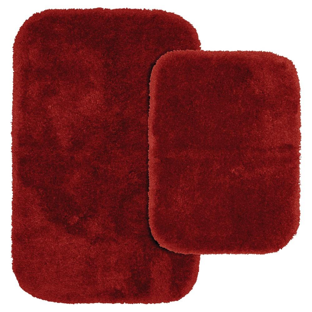 Garland 2 Piece Finest Luxury Ultra Plush Washable Nylon Bath Rug Set - Chili Pepper Red
