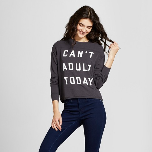 Women's Can't Adult Today Graphic Pullover Sweatshirt - Fifth Sun (Juniors') Black - image 1 of 2