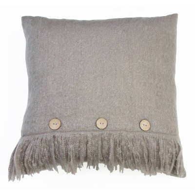 """20""""X20"""" Monica Mohair Button Fringe Pillow Gray - Decor Therapy"""