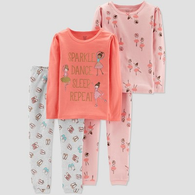 Baby Girls' 4pc Ballerina Pajama Set - Just One You® made by carter's Pink 9M