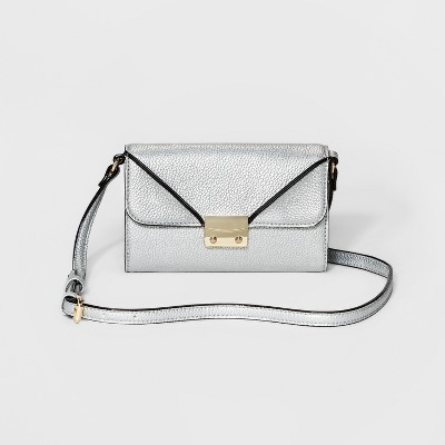 Women's Flap-Close Wallet with Crossbody Strap - A New Day™ Silver