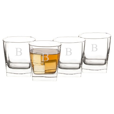 Cathy's Concepts 10.75oz 4pk Monogram Whiskey Glasses B