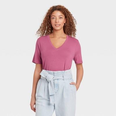 Women's Short Sleeve V-Neck Drapey T-Shirt - A New Day™