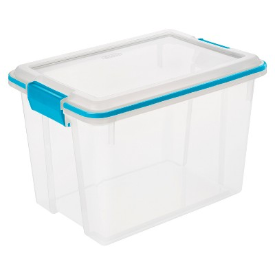 Sterilite 20 Qt Gasket Box Clear with Blue Latches
