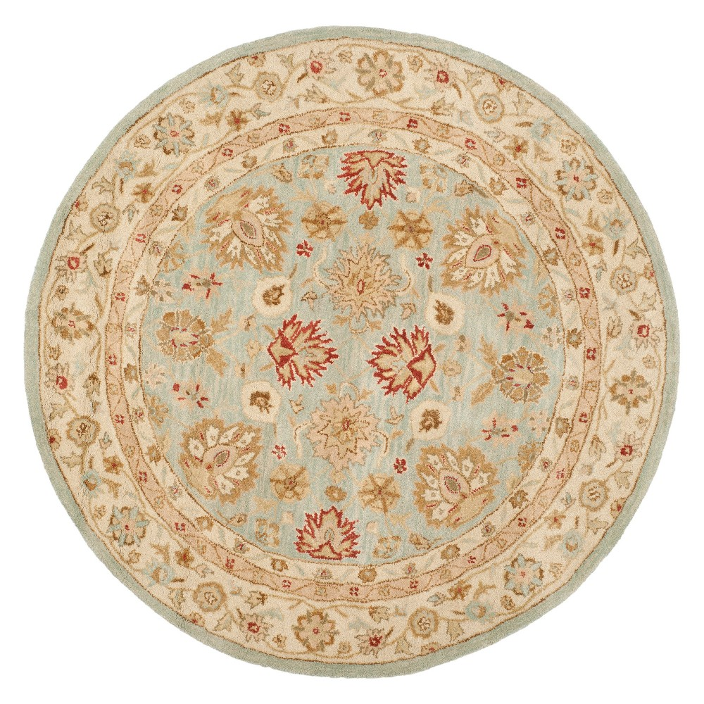 Image of 10' Floral Round Area Rug Gray/Blue - Safavieh, Size: 10' ROUND
