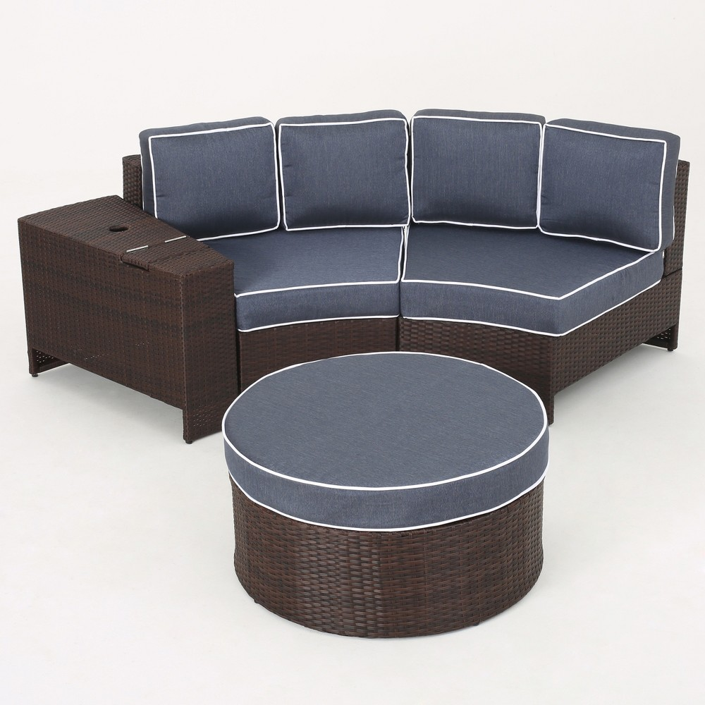 Madras Ibiza 4pc Wicker 1/2 Round Seating Set with Ottoman - Brown/Navy (Brown/Blue) - Christopher Knight Home