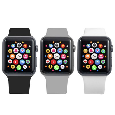 Insten 3-Pack Soft TPU Rubber Replacement Band for Apple Watch 42mm 44mm All Series SE 6 5 4 3 2 1 (White/Gray/Black)