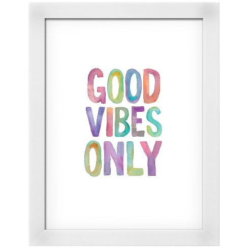 Good Vibes Only Watercolor Framed Art Print - image 1 of 3