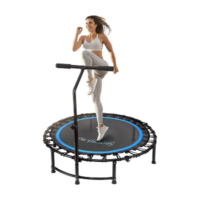 SereneLife SLELT418 40 Inch Adults Indoor Home Gym Outdoor Sports Exercise Fitness Trampoline with T-bar Handle and Padded Frame Cover, Black