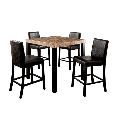 Iohomes 5pc Colorful Faux Marble Top Counter Dining Table Set Wood