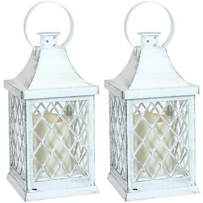 "2ct 10"" Ligonier Plastic and Glass Battery Operated Indoor LED Candle Lantern - White - Sunnydaze Decor"