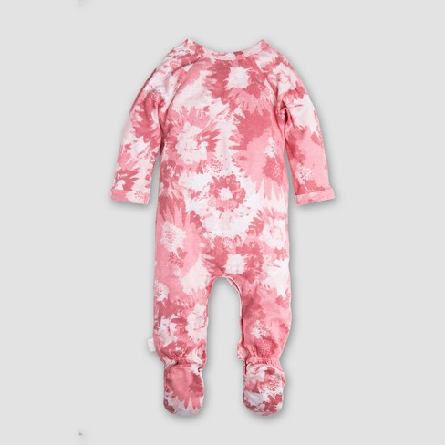 Burt s Bees Baby Girls  Organic Cotton Wrap Front Footed Coverall   Hat Set  - Pink 6620886d3cb9