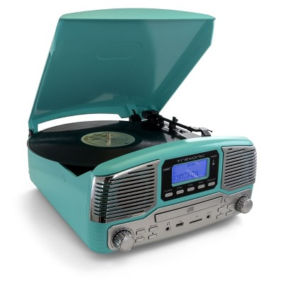 Trexonic Retro Wireless Bluetooth Record and CD Player in Turquoise