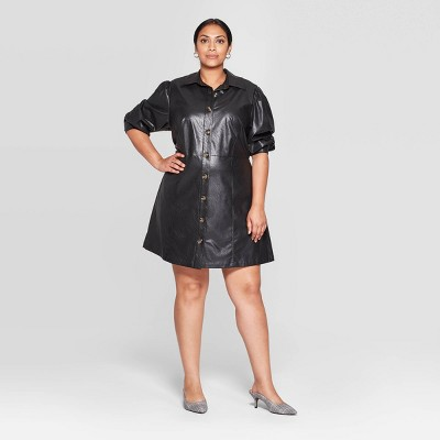 Women's Plus Size Puff Long Sleeve Collared Button Up A Line Mini Dress   Who What Wear™ by Who What Wear