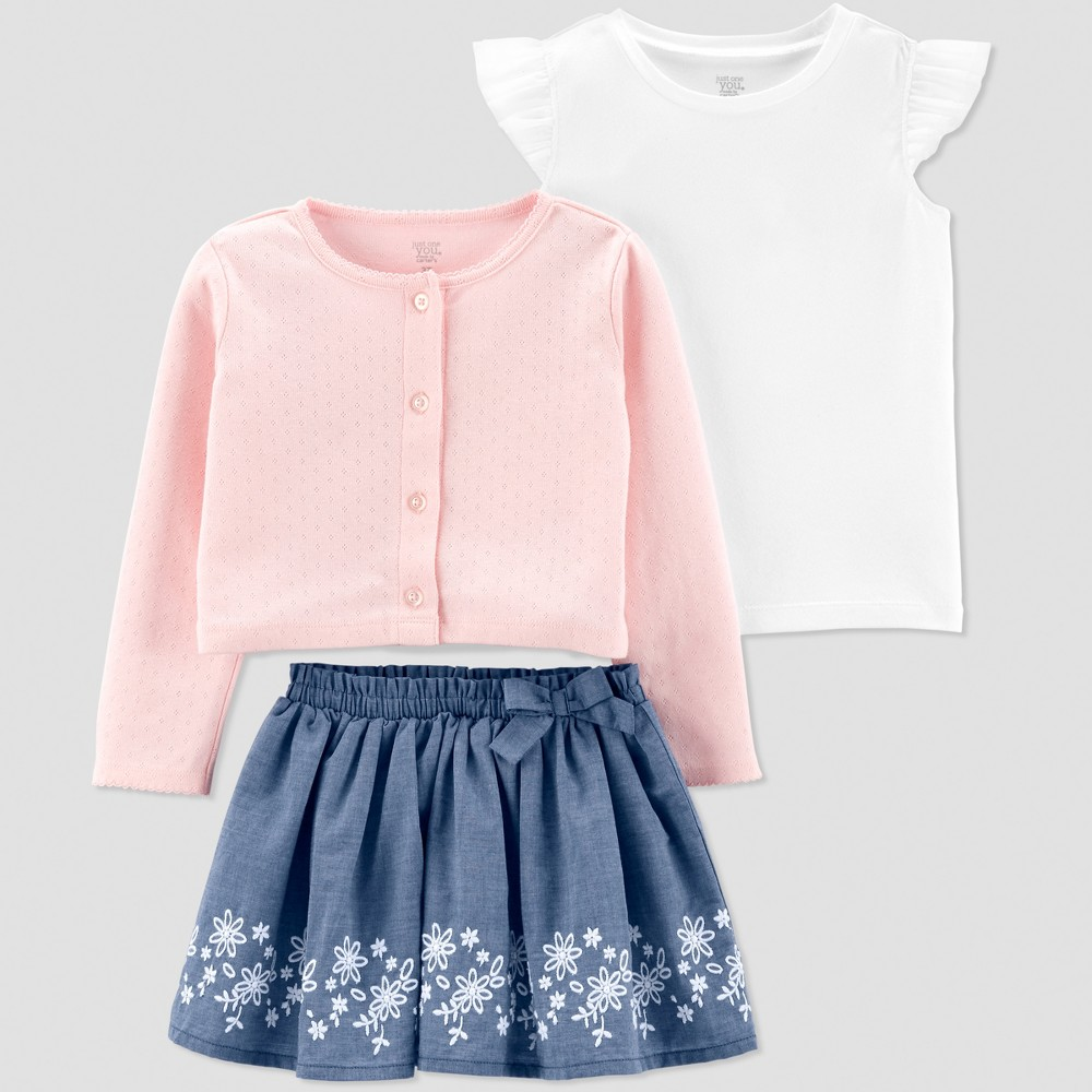 Toddler Girls' Chambray Sweater and Skirt Set - Just One You made by carter's Pink/Blue/White 3T
