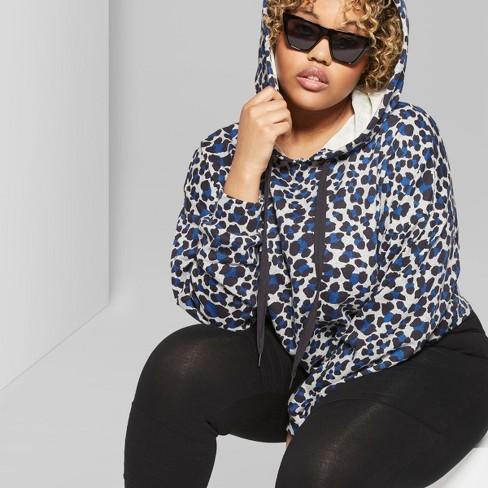 78048cfb97091 Women s Plus Size Hi-Lo Leopard Print Crop Sweatshirt Hoodie - Wild Fable™  Gray Blue