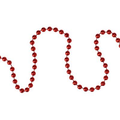 "Northlight 15' x 0.25"" Shiny Crimson Red Beaded Christmas Garland - Unlit"