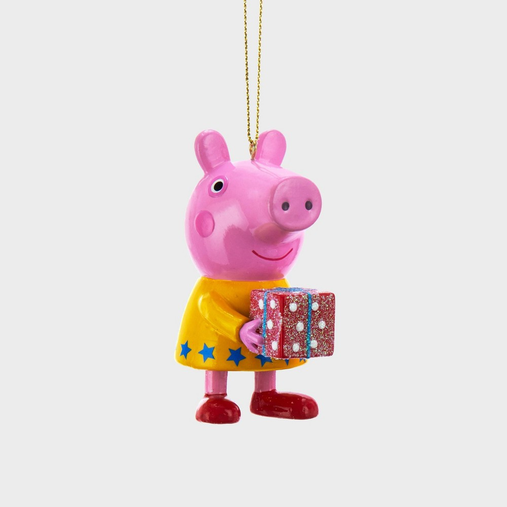 """Image of """"3"""""""" Peppa Pig With Present Christmas Ornament, Pink"""""""