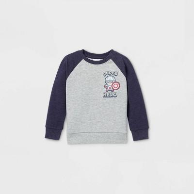 Toddler Boys' Marvel Superheroes 'Feeling Super' Raglan Fleece Pullover - Navy Heather 12M