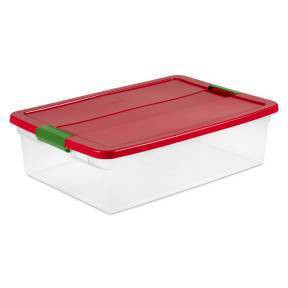 Sterilite 32qt Latching Clear Storage Box Red Lid and Green Latch