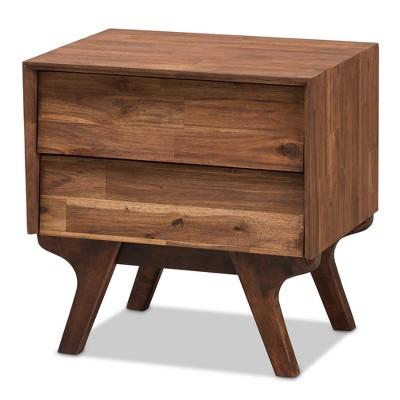 Sierra Midcentury Modern Wood 2 Drawer Nightstand Brown - Baxton Studio