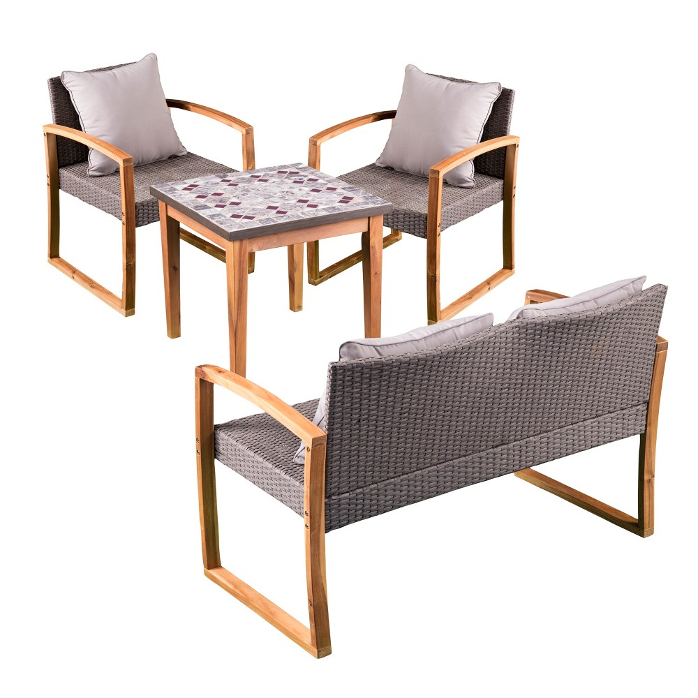 Surprising 4Pc Kelten Wicker Outdoor Conversation Set With Mosaic Stone Dailytribune Chair Design For Home Dailytribuneorg