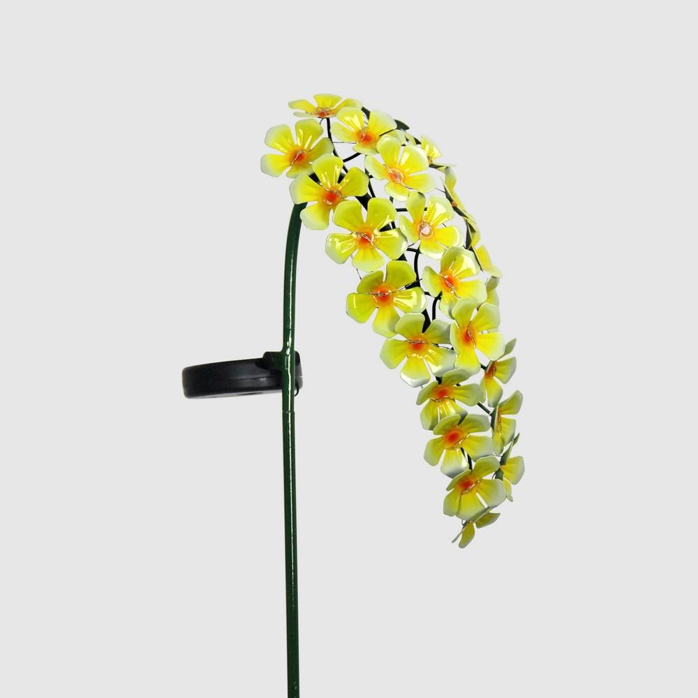 """Image of """"28"""""""" Solar Resin/Metal Hanging Flower Garden Stake Yellow - Exhart"""""""