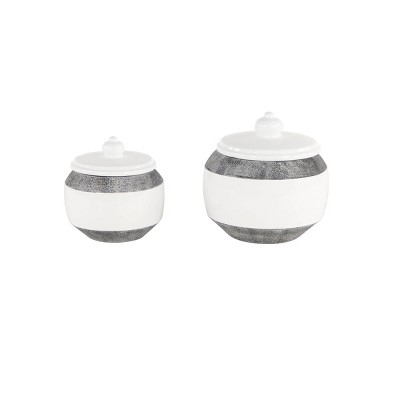 Set of 2 Round Textured Ceramic Jars with Lid Gray/White - Olivia & May