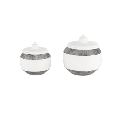 Set of 2 Round Textured Ceramic Jars with Lid Gray/White - Olivia & May - image 1 of 2