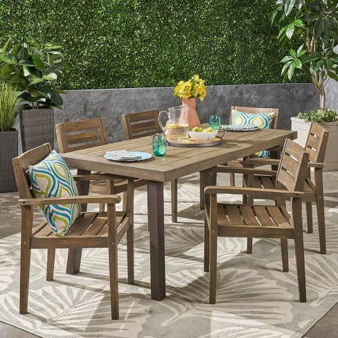 Avon 7pc Acacia Wood Dining Set - Christopher Knight Home  - image 1 of 4